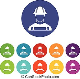 Builder set icons in different colors isolated on white...