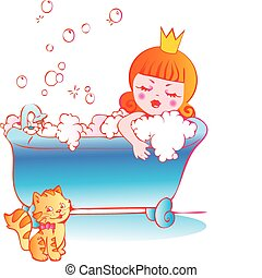 Princess bathing. - Princess bathing in the bathroom....