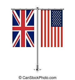 UK and USA flags hanging together. - Great Britain and...