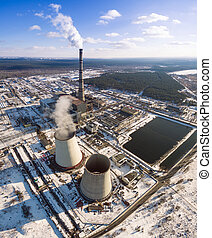Heat electric station in winter. Aerial view. From above....