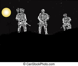 Special Forces Unit - Illustration of a special forces unit,...