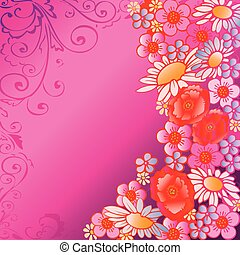 Flowers - Beautiful flowers on a pink background with place...