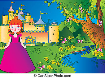 Princess. - Beautiful princess on the meadow in a pink dress...