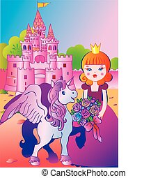 Princess. - Beautiful princess with flowers and a unicorn on...