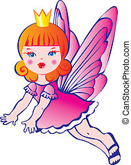 Princess with wings. - Princess with wings on a white...