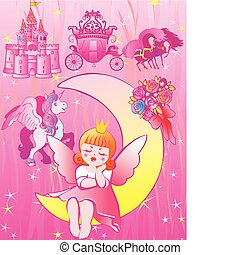 Dream. - Princess sleeps on the moon. Vector...