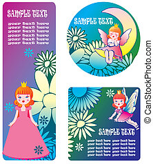 Floral banners with princess. - Floral banners with princess...