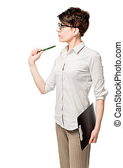 woman with pen and folder isolated on white background