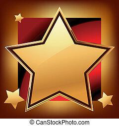 Golden star on luxury red background. EPS 8