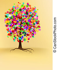 Colorful autumn tree design