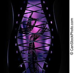 background corset and hands - purple background and abstract...