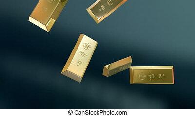 Gold bars crash - High quality animation of destruction of...