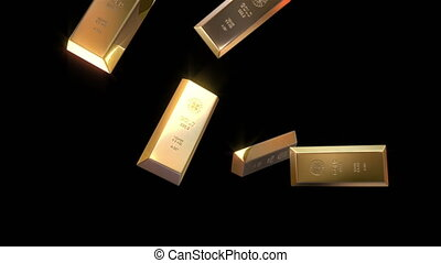 Gold bars destruction - High quality animation of...