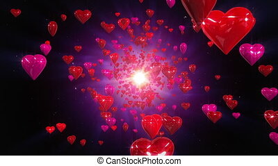 Flight hearts loopable background. - High quality hearts...