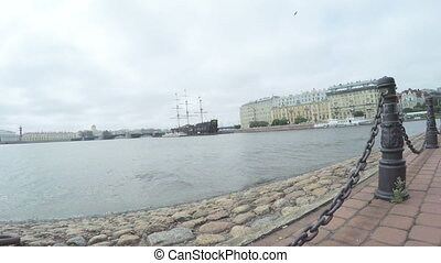 Chain fence on embankment of the Neva - RUSSIA, SAINT...