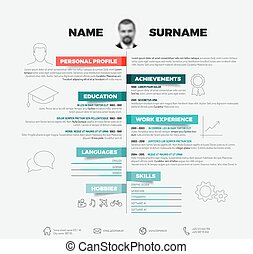 Vector minimalist cv / resume template with with red and...