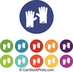 Rubber gloves set icons in different colors isolated on...