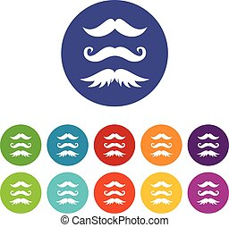 Moustaches set icons in different colors isolated on white...