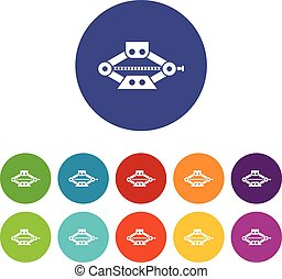 Red scissor car jack set icons in different colors isolated...
