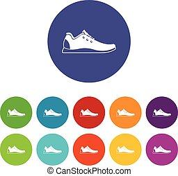 Athletic shoe set icons