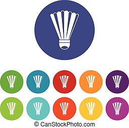 Shuttlecock set icons in different colors isolated on white...