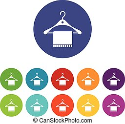 Scarf on coat hanger set icons in different colors isolated...