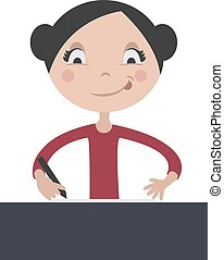 Cartoon girl writing at school desk, vector