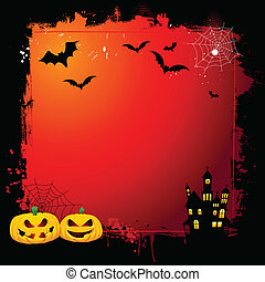 Grunge Halloween background with spooky pumpkins and haunted...