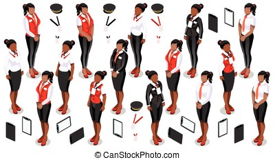Isometric People Staff Icon Set Collection Vector...