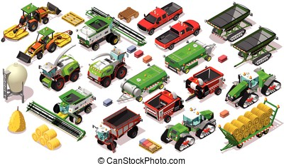 Isometric Vehicle Farm 3D Icon Set Collection Vector Illustration