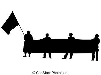 Banner and flag on white background - People of with large...