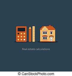 House maintenance calculation icon, living expenses, real estate investment plan