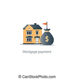 House budget icon, real estate investment, rent payment, buy new home, insurance