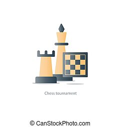 Chess debut, tournament event, chess club, strategy concept