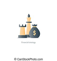 Business strategy icon, budget management, investment plan, money bag