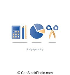 Budget cut scissors, financial knowledge pencil and ruler, money fund use