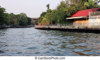 Scenic waterway in Bangkok, Thailand - A view of one of...