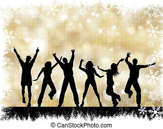 Party background - Silhouettes of people dancing on a golden...