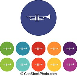 Brass trumpet set icons in different colors isolated on...