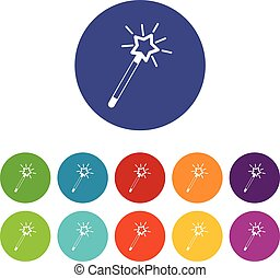 Magic wand set icons in different colors isolated on white...