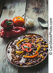 Chili con carne. Restaurant food concept with Mexican...