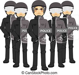 Police Riot Team - Police riot team armed standing working...