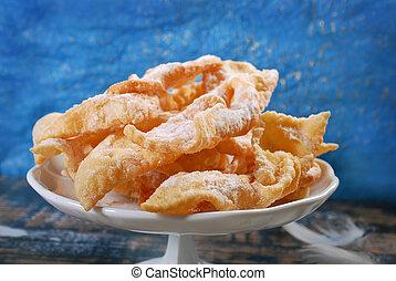 polish deep fried pastry faworki - traditional polish deep...