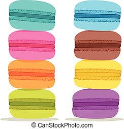 Colorful Macarons - Pile of colorful Cake macaron isolated...