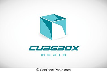 Corporate business cube 3d blue logo icon design