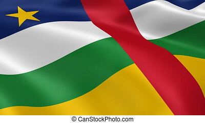 Central African flag in the wind