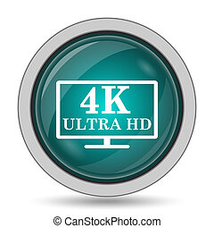 4K ultra HD icon, website button on white background.