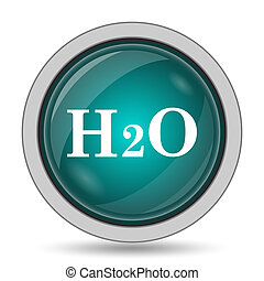H2O icon, website button on white background.