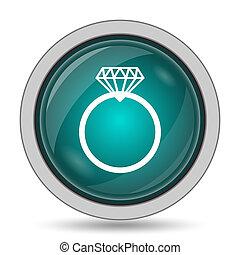 Diamond ring icon, website button on white background.