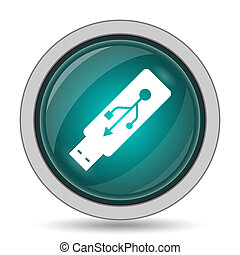Usb flash drive icon, website button on white background.